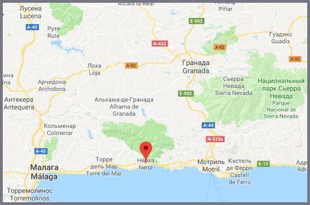 Карта побережья Коста дель Соль с указанием курорта Нерха